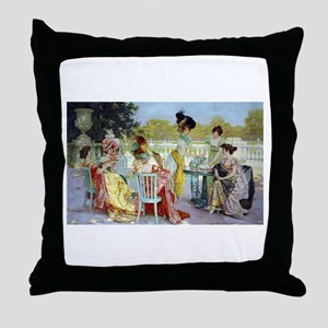 Regency Ladies Tea Party Throw Pillow