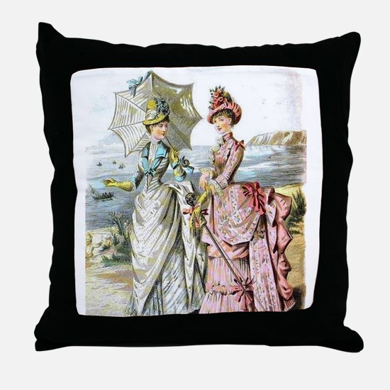 Duo of Victorian Ladies Throw Pillow