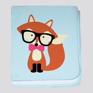 Hipster Brown Fox baby blanket