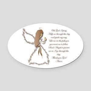 Life is fragile Angel Oval Car Magnet