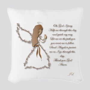 Life Is Fragile Angel Woven Throw Pillow
