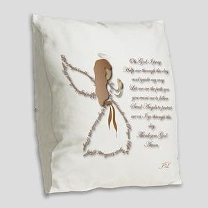 Life Is Fragile Angel Burlap Throw Pillow