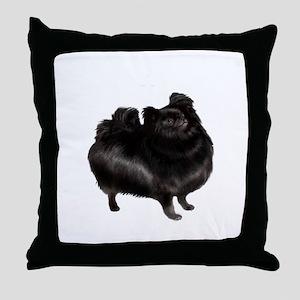 Pomeranian (blk) Throw Pillow