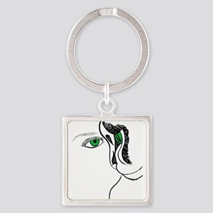 Green eye girl and cat Keychains
