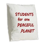 Students for one Peaceful Planet Burlap Throw Pill