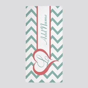 Mint Coral Chevron Personalized Beach Towel