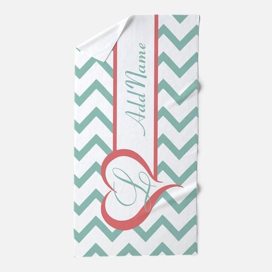 Mint Coral Chevron Personalized Beach Towel