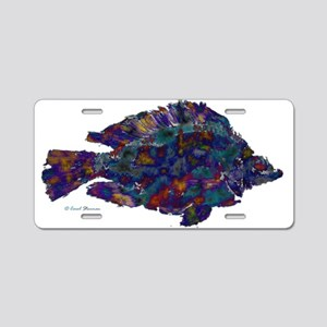 Blue Fish Print Aluminum License Plate