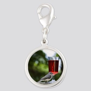Wine with Friends Silver Round Charm