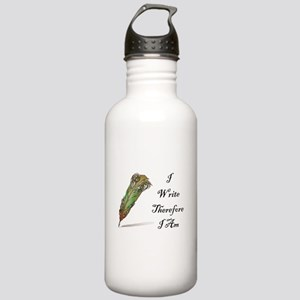 I Write Therefore I Am Water Bottle
