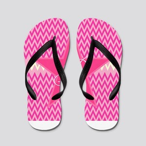 Personalizable Initial on Pink Star Flip Flops