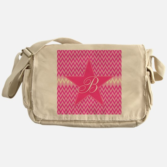 Personalizable Initial on Pink Star Messenger Bag