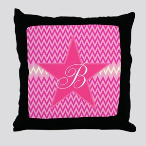Personalizable Initial on Pink Star Throw Pillow