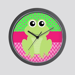 Frog on Pink and Green Wall Clock