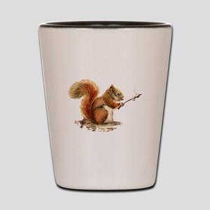 Fun Red Squirrel Roasting Marshmallows Shot Glass