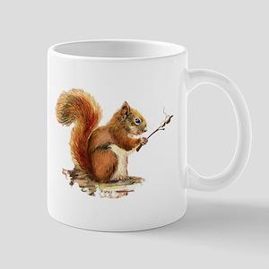 Fun Red Squirrel Roasting Marshmallows Mugs
