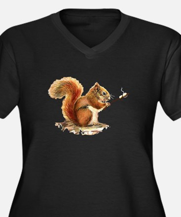 Fun Red Squirrel Roasting Marshmallows Plus Size T