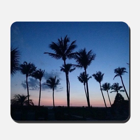 Blue Sunset with Palms Mousepad