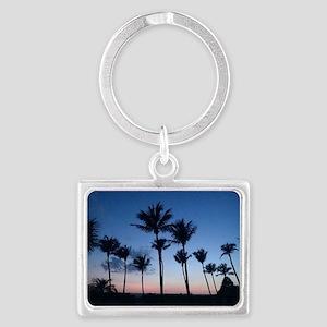 Blue Sunset with Palms Landscape Keychain