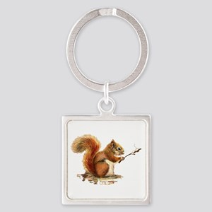 Fun Red Squirrel Roasting Marshmallows Keychains