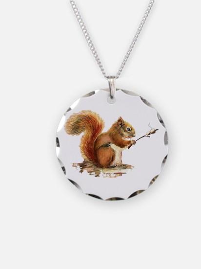 Fun Red Squirrel Roasting Necklace