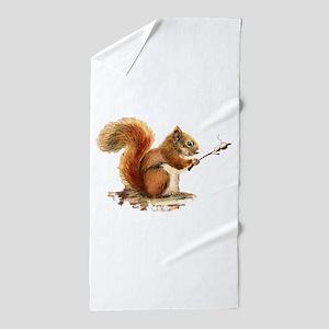 Fun Red Squirrel Roasting Marshmallows Beach Towel