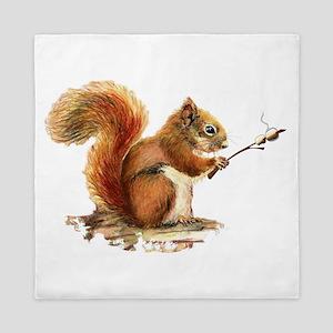Fun Red Squirrel Roasting Marshmallows Queen Duvet