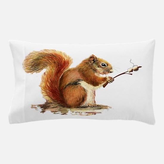 Fun Red Squirrel Roasting Marshmallows Pillow Case