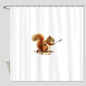 Fun Red Squirrel Roasting Marshmallows Shower Curt