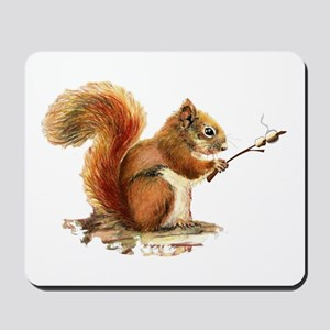 Fun Red Squirrel Roasting Marshmallows Mousepad