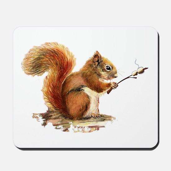 Fun Red Squirrel Roasting Marshmallows Mousepad