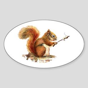 Fun Red Squirrel Roasting Marshmallows Sticker