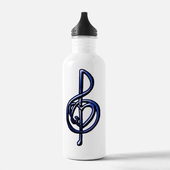 Blue Embossed Metallic Water Bottle