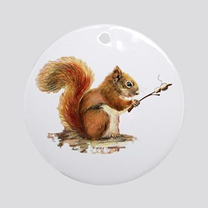 Fun Red Squirrel Roasting Ornament (round)