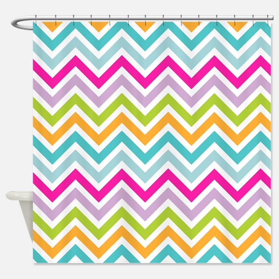 Rainbow Zigzag Pattern Shower Curtain