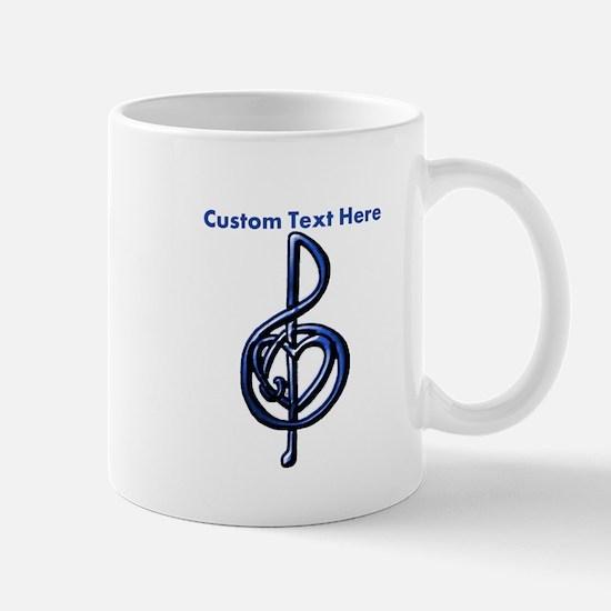 Blue Shiny Music Treble Clef and Heart Mug