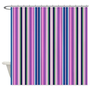 Green Vertical Stripes Shower Curtains