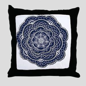 Blue Lace Flower Original ARt Throw Pillow