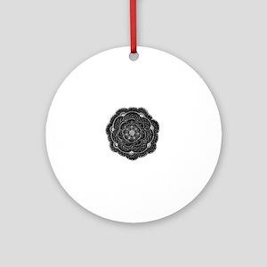 Black Lace Flower Original Art Round Ornament