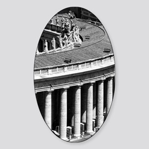 Rome Italy Vatican Black and White  Sticker (Oval)