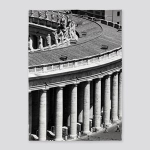 Rome Italy Vatican Black and White  5'x7'Area Rug