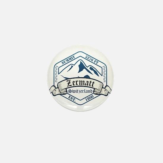 Zermatt Ski Resort Switzerland Mini Button