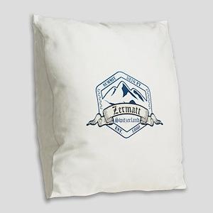 Zermatt Ski Resort Switzerland Burlap Throw Pillow