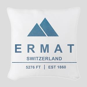 Zermatt Ski Resort Switzerland Woven Throw Pillow