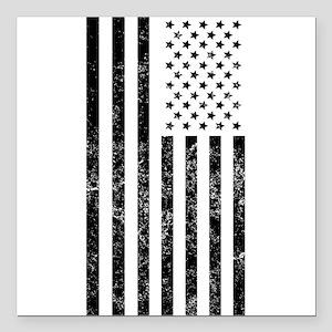 "Distressed American Flag Square Car Magnet 3"" x 3"""
