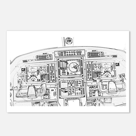 Airplane Instrument Panel Postcards (Package of 8)
