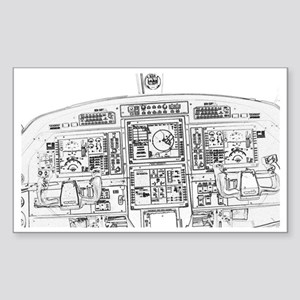 Airplane Instrument Panel Sket Sticker (Rectangle)