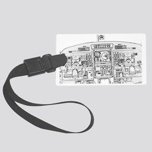 Airplane Instrument Panel Sketch Large Luggage Tag