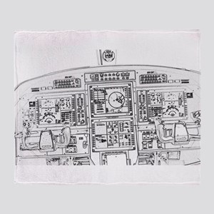Airplane Instrument Panel Sketch Throw Blanket