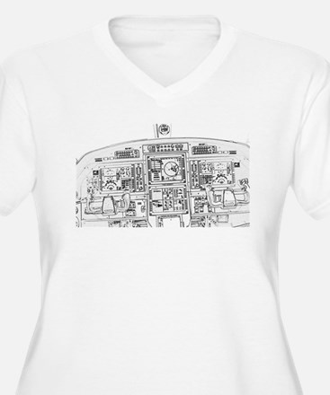 Airplane Instrument Panel Sketch Plus Size T-Shirt